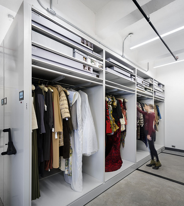 Gown storage, flat storage above, Museum, Fashion Institute of Technology